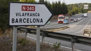 Tramo de la N-340 a la altura de Vilafranca del Penedès.