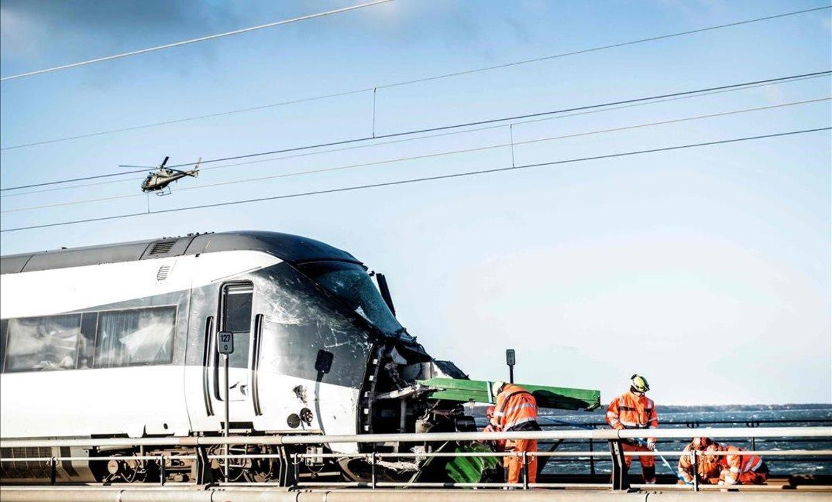 El tren accidentado en Dinamarca.