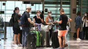 Turistas alemanes llegados a Barcelona a finales de julio.