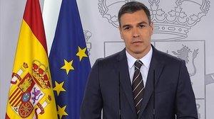 Pedro Sánchez, este sábado en la rueda de prensa en la Moncloa.