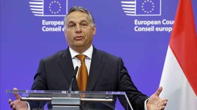 Viktor Orbán ofrece una rueda de prensa en Bruselas, este jueves.