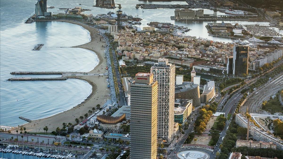 Vista áerea de Barcelona, en el barrio de la Barceloneta.