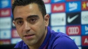 Xavi Hernández en rueda de prensa para anunciar que marcha de la institución azulgrana al término del ejercicio, el pasado 21 de mayo.