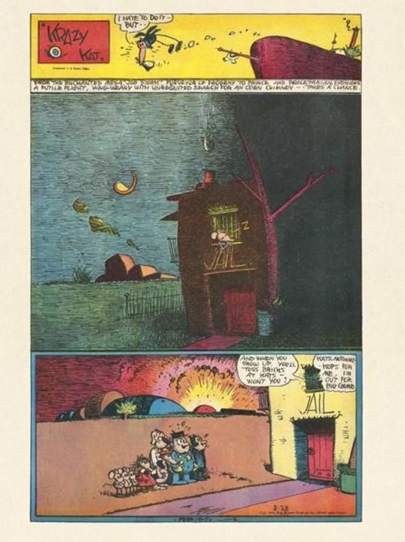 Página completa de periódicode 'Krazy Kat' publicada el 28 de agosto de 1938 y expuesta ahora en el Reina Sofía.
