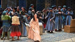Escena de Litaliana in Argeli de Rossini, en el Liceu.