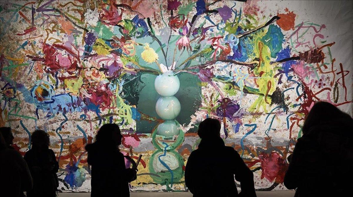 Una de las obras de la exposición de Pedro Almodóvar y Jorge Galindo, este jueves en Madrid.