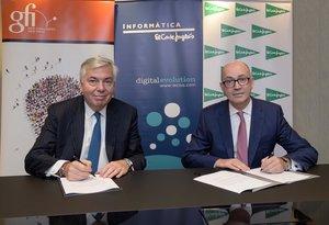 Vincent Rouaix, presidente y CEO de Gfi, y Jesús Nuño de la Rosa, presidente de IECISA y consejero de ElCorteInglés.