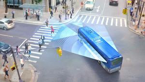 Detalle de una recreación de Mobileye en tráfico urbano.