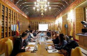 Un momento de la conferencia entre el Estado y las comunidades autónomas sobre Memoria Histórica celebrada este miércoles en la sede del Miniterio de Justicia bajo la presidencia del director general de Memoria, Fernando Martínez.