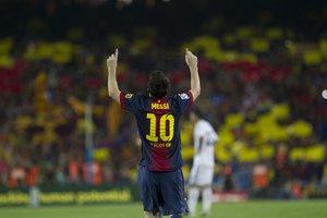 Messi celebra un gol con el Barcelona en la temporada 2011-2012.