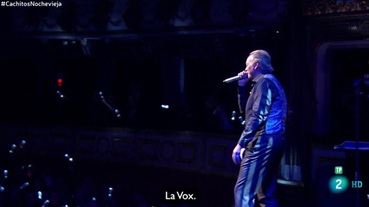 La actuación de Bertín Osborne, con el rótulo de La Vox, en el programa 'Cachitos' de La 2.