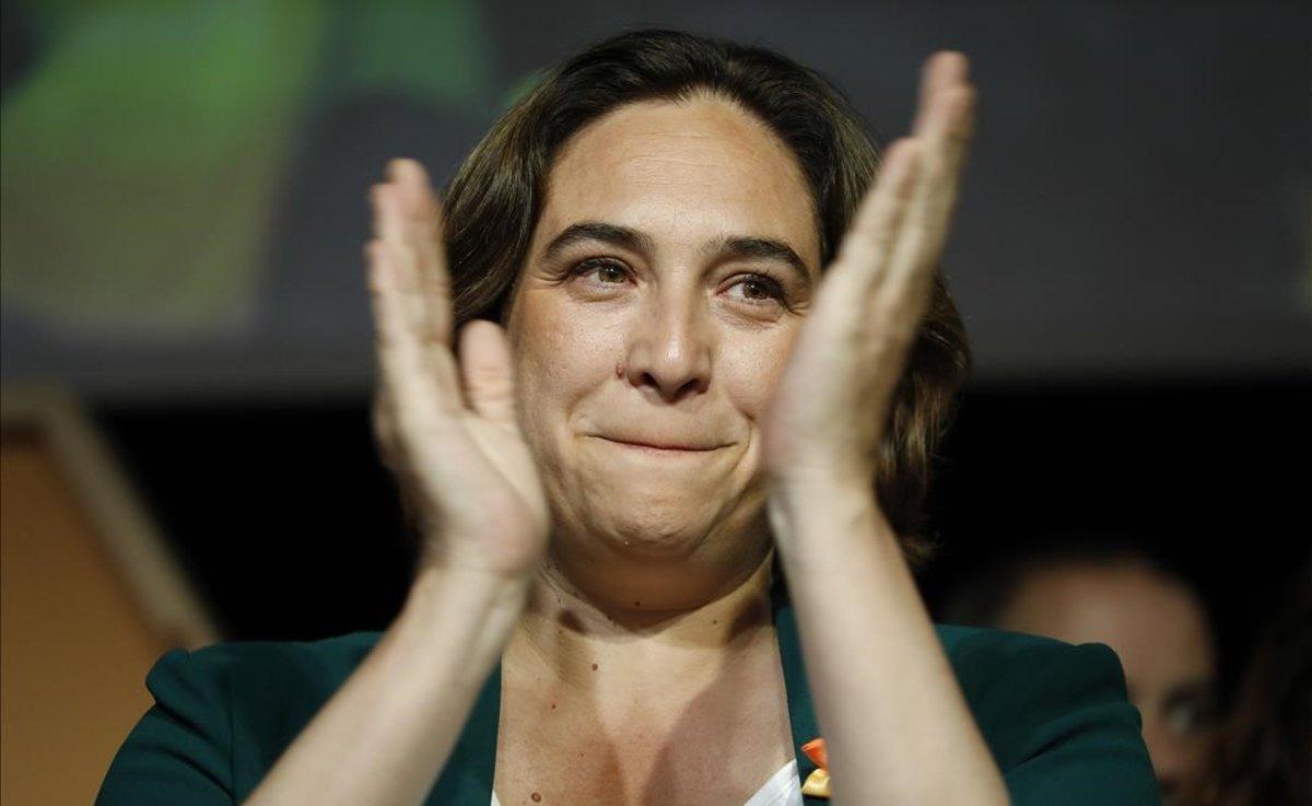 Ada Colau, durante la noche electoral del 26-M.