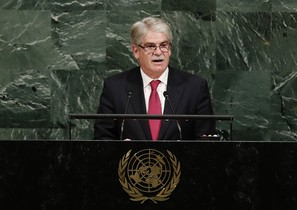 Spain Foreign Minister Alfonso Dastis Quecedo addresses the United Nations General Assembly Thursday Sept 21 2017 at the U N headquarters AP Photo Frank Franklin II