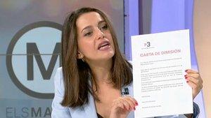 La portavoz de Ciudadanos en el Congreso, Inés Arrimadas, durante la entrevista en 'Els Matins' de TV-3
