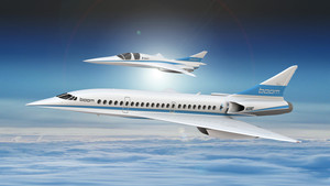 An artists impression shows Booms 55-seat supersonic aircraft (below) and Booms XB-1 supersonic demonstrator in this undated handout obtained by Reuters December 4, 2017. REUTERS/Boom Supersonic Handout via REUTERS ATTENTION EDITORS - THIS PICTURE WAS PROVIDED BY A THIRD PARTY. NO ARCHIVES. NO RESALES.