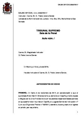 Auto del Supremo que rechaza la entrega de Puigdemont a España