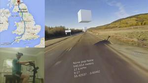 Un home està fent la volta al Regne Unit en bicicleta estàtica