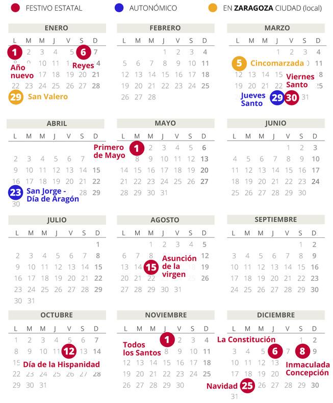 Calendario laboral zaragoza 2018 con todos los festivos for Calendario eventos madrid
