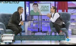 Juan Carlos Monedero y Jorge Javier Vázquez en el programa de Sálvame Deluxe del pasado sábado. / TELECINCO.