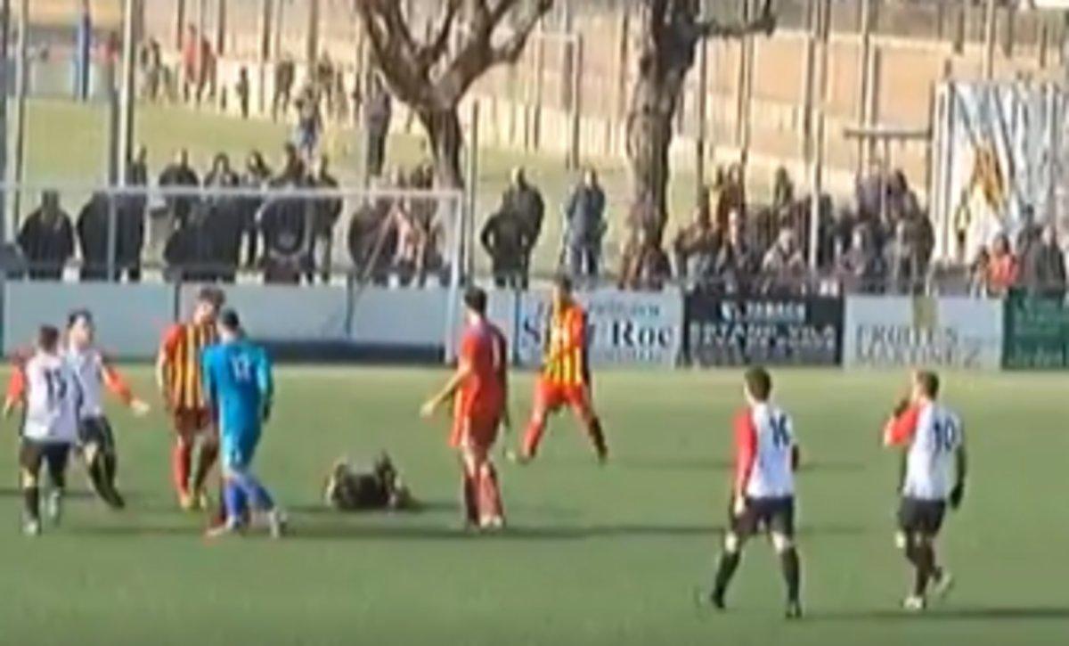 Captura de vídeo tras la agresión del portero del Manlleu.