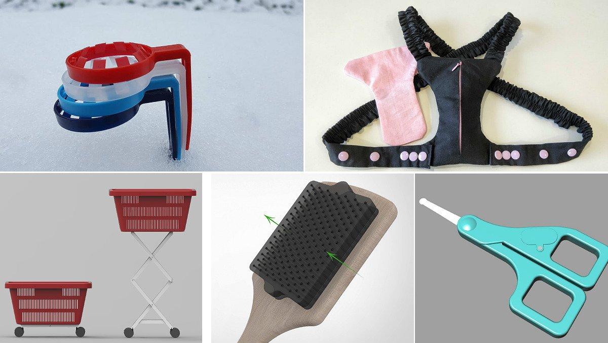 Cinco prototipos presentados este año por inventoras españolas: un portabotellas, una almohada pectoral, un elevador de carritos, un limpiador de cepillos y unas tijeras con luz.