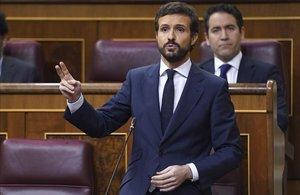 Sesión de Control al Gobierno esta mañana en el Congreso de los Diputados ,en la imagenel Presidente del PP Pablo Casado.