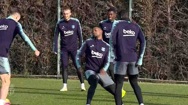 Dembélé se entrena tras su gol ante el Tottenham.