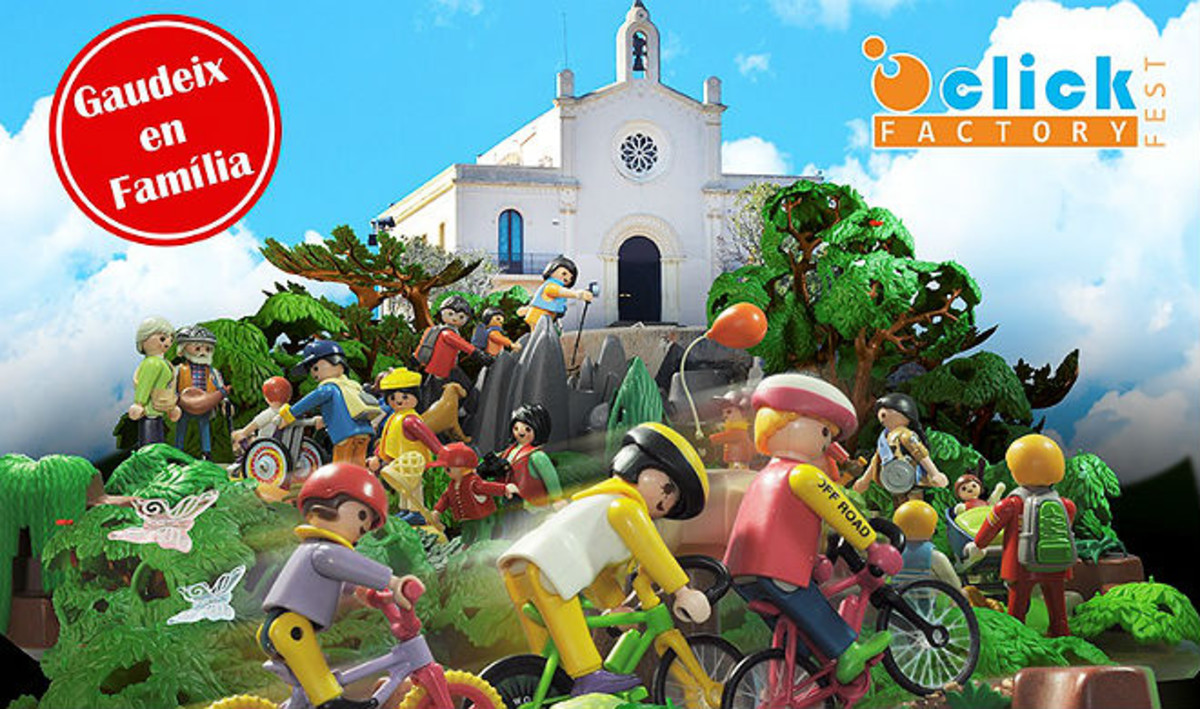 Detalle del cartel de la feria Playmobil.