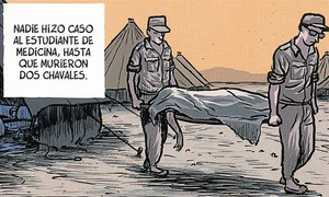 El dibuixant Jaime Martín, ahir a Barcelona, gira lesquena a una escopeta (de mentida).