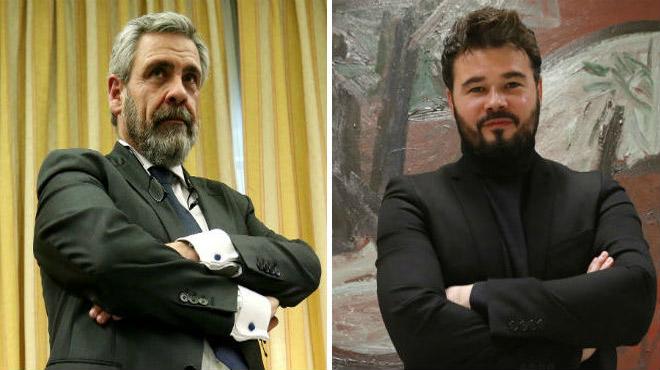 El diputat Rufián i el fiscal Alfonso s'embranquen al Congrés.