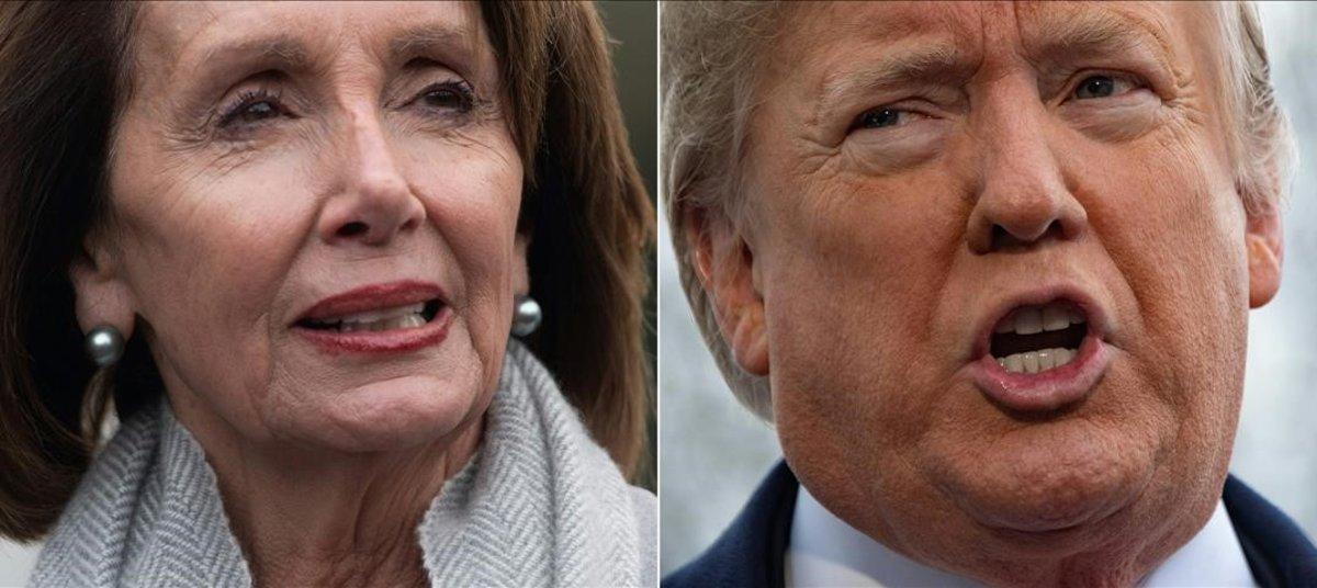 Donald Trump, presidente de EEUU, y Nancy Pelosi, presidenta de la Cámara de Representantes.