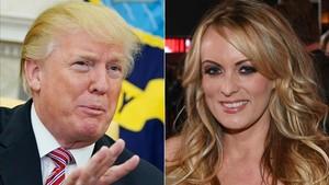Fotos de archivo del presidente de Estados Unidos, Donald Trump y la actriz porno, Stormy Daniels.