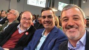 Iceta, Sánchez y Collboni en el acto de los socialistas en Tarragona.