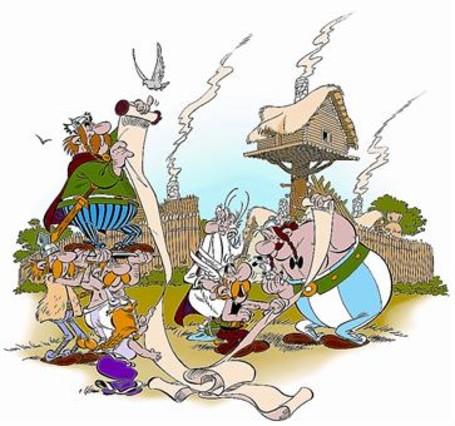 Imagen de 'El papiro del César', la nueva aventura de Astérix, mostrada este martes en Bolonia.