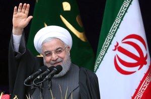 El presidente iraniHasan Rohanidurante una ceremonia por el 40aniversario de la Revolucion Islamica.