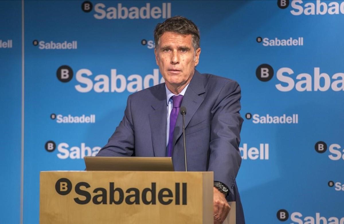 Jaume Guardiola, durante unapresentación de resultados de la entidad.