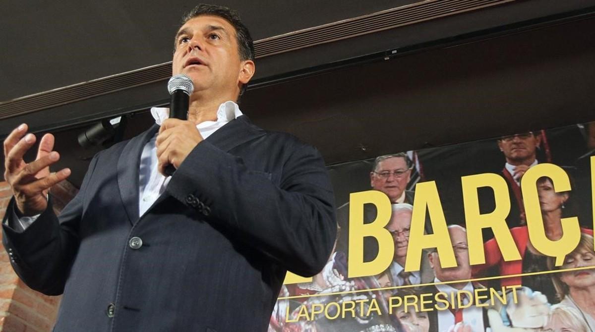 Joan Laporta, en un acto de su candidatura a la presidencia en el 2015.