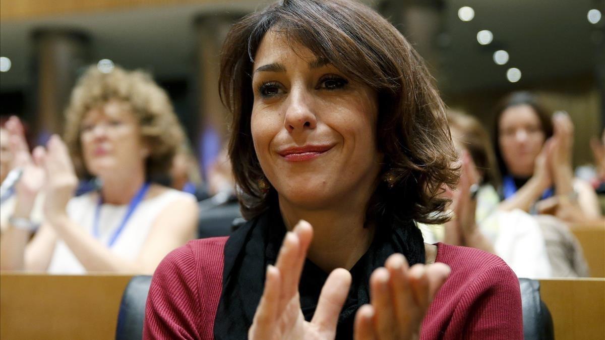 Juana Rivas en unas jornadas contra la violencia machista.