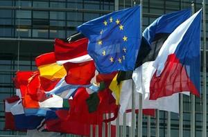 Las banderas de los estados de la UE ondean en Estrasburgo.
