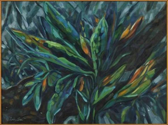 'El secreto' (1984). Se trata de una obra muy temprana de la artista Laura Iniestarealizada durante su etapa suramericana, con un trabajo más abstracto y expresionista que en la actualidad.