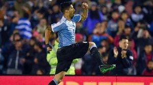 Luis Suárez celebra el gol marcado ante Panamá en su reaparición.