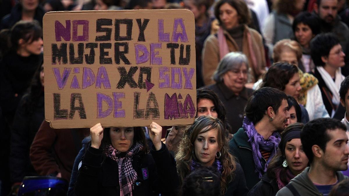 Manifestación de mujeres en Barcelona.