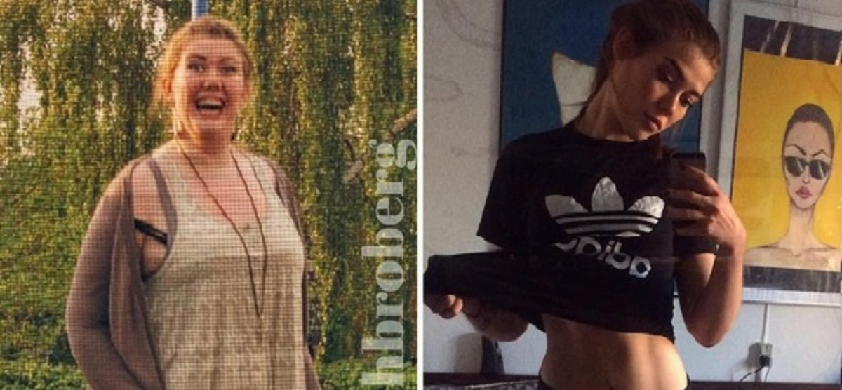 Mathilde Broberg, cuando pesaba 120 kilos, a la izquierda, y en la actualidad, con 67 kilos, a la derecha.