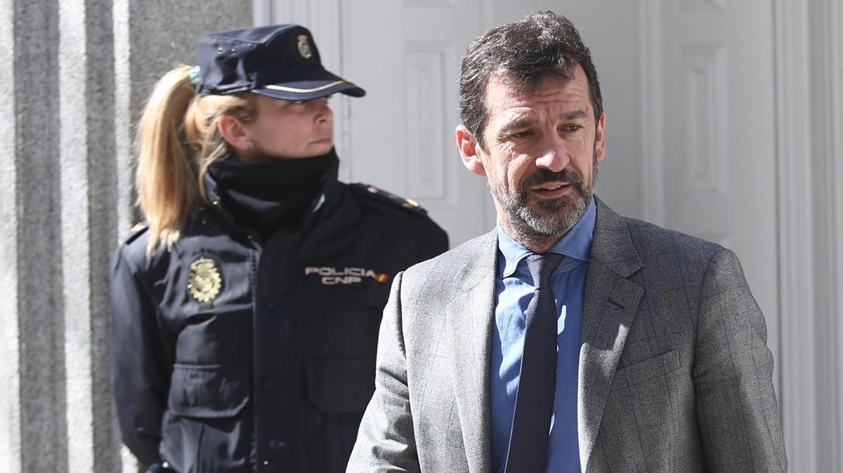Ferran López, a la salida del Tribunal Supremo tras declarar como testigo ante el juez Llarena el pasado 26 de febrero.
