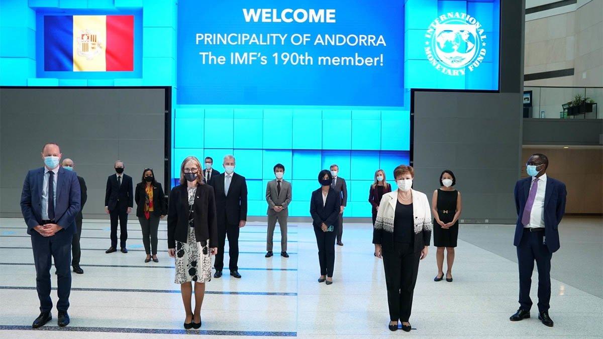 Mensaje de bienvenida del FMI a Andorra como nuevo miembro.