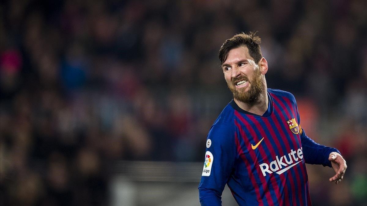 Messi, en una imagen del partido contra el Valladolid.