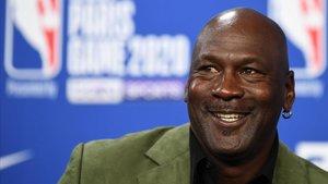 Michael Jordan, en una rueda de prensa como propietario de los Charlotte Hornets.