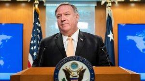 Mike Pompeo al anunciar el lunes el fin de las exenciones para la compra de petróleo iraní.