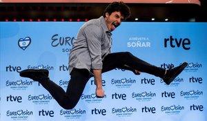 Miki Núñez, en el 'photocall' RTVE tras ser elegido candidato español a Eurovisión 2019.
