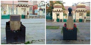 El monumento a Companys sin el busto (izquierda), este miércoles en Lleida. A la derecha, el monumento, en una imagen de archivo.